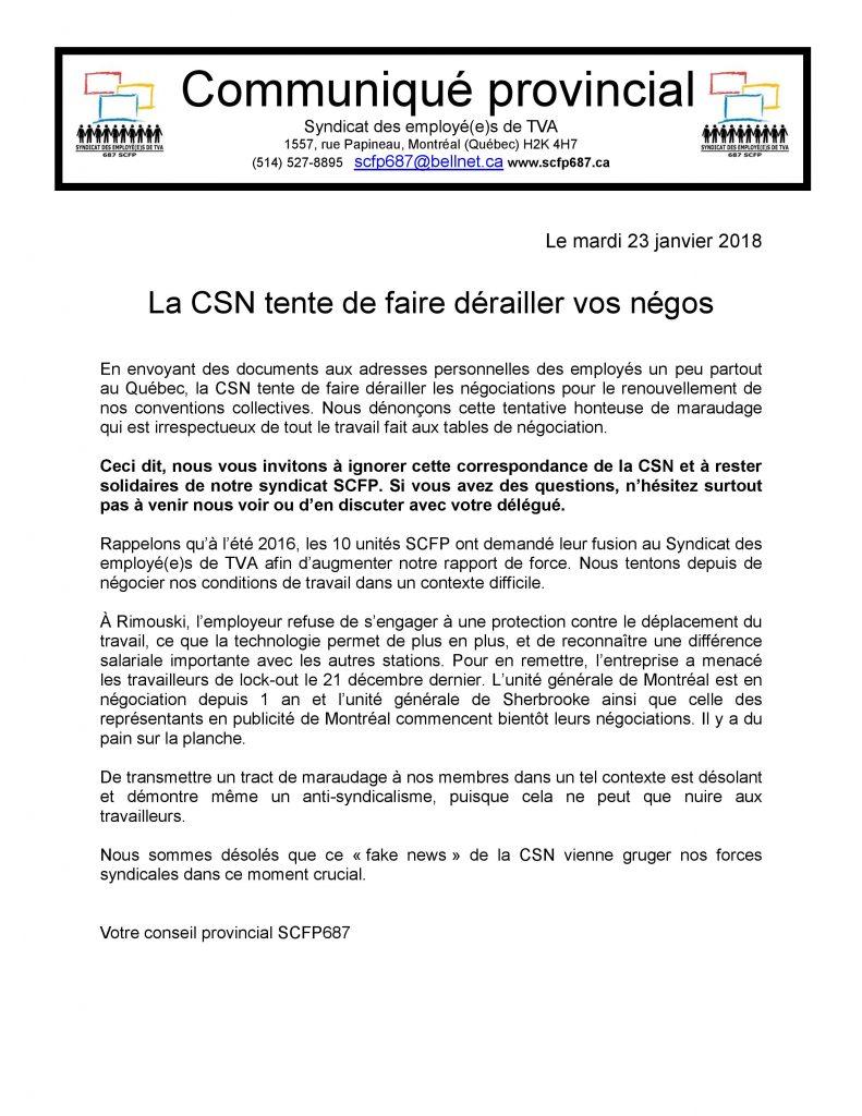 180123 Communique provincial lettre CSN aux membres